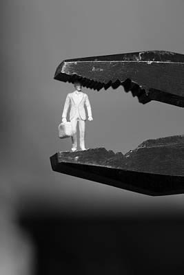 Business Man Under Pressure In Pliers - Monochrome Poster by Ulrich Kunst And Bettina Scheidulin