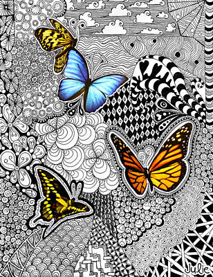 Butterfly Tangle Poster by Julie Erin Designs