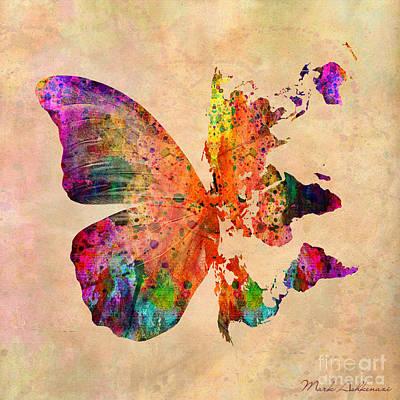 Butterfly World Map  Poster by Mark Ashkenazi
