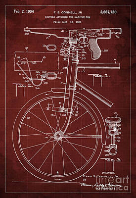 Bycicle Attached Toy Machine Gun Patent Blueprint, Year 1951 Red Vintage Art Poster by Pablo Franchi