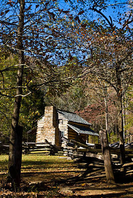 Cades Cove Early Settler Cabin  Poster by Douglas Barnett