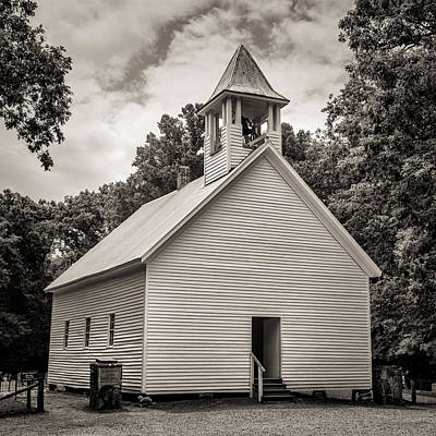 Cades Cove Primitive Baptist Church - Toned Bw Poster by Stephen Stookey