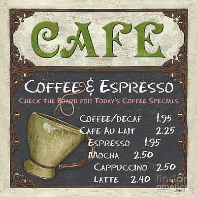 Cafe Chalkboard Poster by Debbie DeWitt