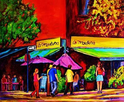Cafe La Moulerie On Bernard Poster by Carole Spandau