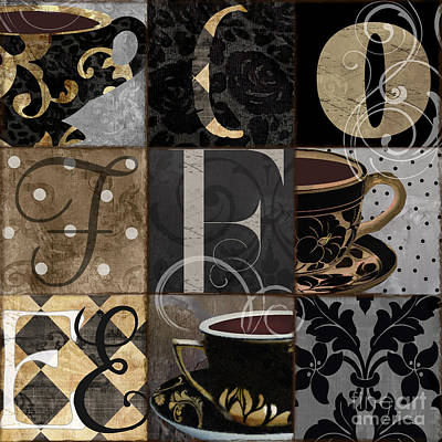 Cafe Noir Patchwork Poster by Mindy Sommers