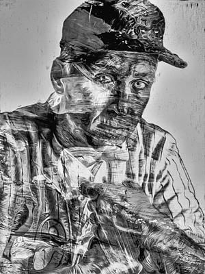 Cal Ripken Jr Digitally Painted Black White Poster by David Haskett