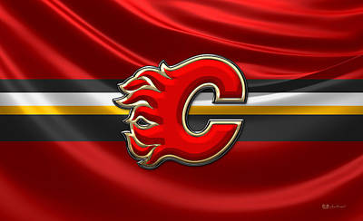 Calgary Flames - 3 D Badge Over Silk Flag Poster by Serge Averbukh