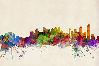 Calgary Skyline Poster by Michael Tompsett