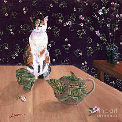 Calico Tea Meditation Poster by Laura Iverson