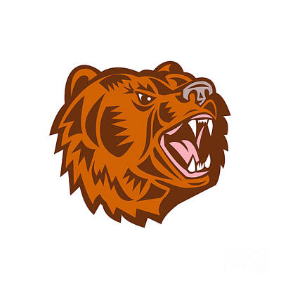 California Grizzly Bear Head Growling Woodcut Poster by Aloysius Patrimonio