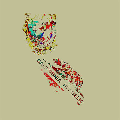 California Paint Splatter Poster by Brian Reaves