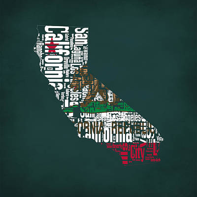 California Typographic Map 1a Poster by Brian Reaves