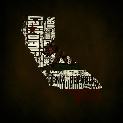 California Typographic Map  Poster by Brian Reaves