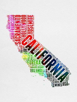 California Watercolor Word Map Poster by Naxart Studio