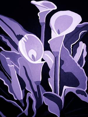 Calla Lillies Lavender Poster by Angelina Vick