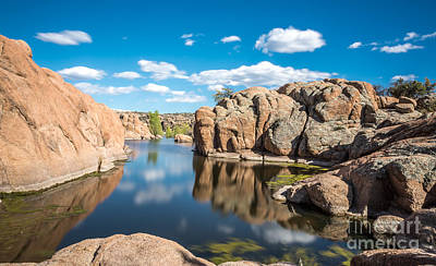 Calm Reflections At Watson Lake Poster by Leo Bounds