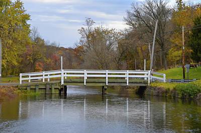 Canal Bridge Near Lambertville New Jersey In Autumn Poster by Bill Cannon
