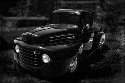 Vintage  F1 Chevy Truck Bw Poster by Lesa Fine