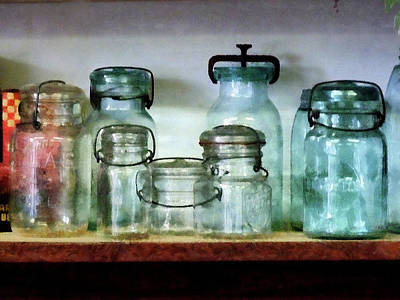 Canning Jars On Shelf Poster by Susan Savad