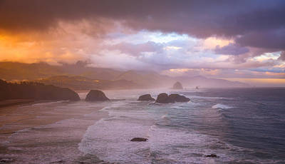 Cannon Beach Sunrise Storm Poster by Darren White