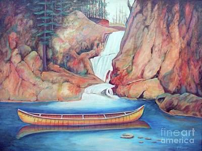 Canoe And Waterfall Poster by Pete  TSouvas