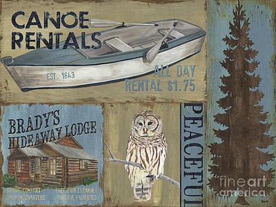 Canoe Rentals Lodge Poster by Debbie DeWitt