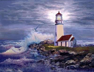 Cape Blanco Oregon Lighthouse On Rocky Shores Poster by Gina Femrite