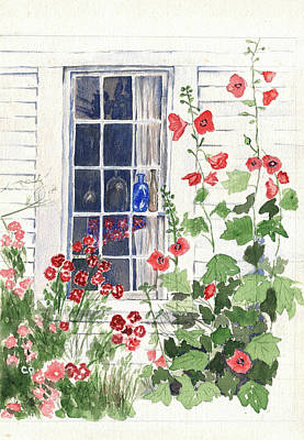 Cape Cod Cottage Window Poster by Carol Helene