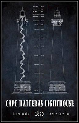 Cape Hatteras Lighthouse Blueprint Poster by Daniel Hagerman