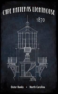 Cape Hatteras Lighthouse Blueprint Minimal Grunge Poster by Daniel Hagerman