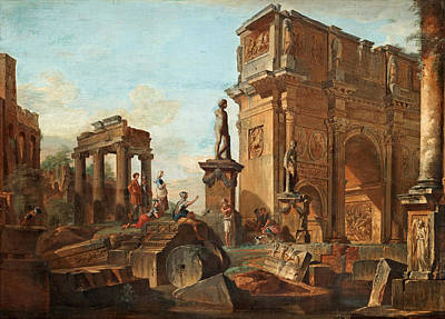 Capriccio With Figures At The Roman Ruins And The Arch Of Constantine Poster by Giovanni Paolo Panini