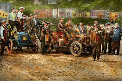 Car - Race - The End Of A Long Journey 1906 Poster by Mike Savad