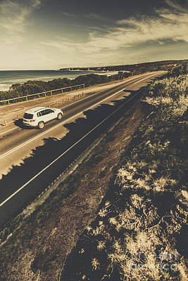 Car Travelling The Great Ocean Road Poster by Jorgo Photography - Wall Art Gallery