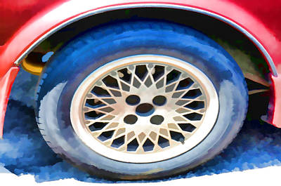 Car Wheel On A Car 1 Poster by Lanjee Chee