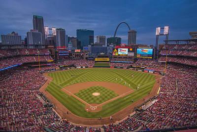 Cardinal Nation Busch Stadium St. Louis Cardinals Twilight 2015 Poster by David Haskett