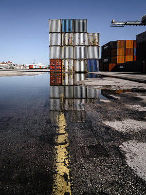 Cargo Containers Reflecting On Large Puddle II Poster by Marco Oliveira