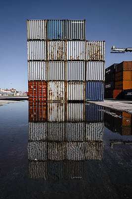 Cargo Containers Reflecting On Large Puddle IIi Poster by Marco Oliveira