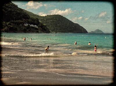 Caribbean Beach Scenic In Grunge Poster by Rosalie Scanlon