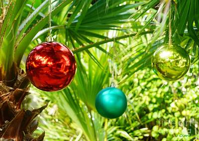 Caribbean Christmas Baubles Poster by John Clark