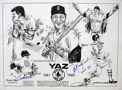 Carl Yastrzemski Retirement Tribute Newspaper Poster Poster by Dave Olsen
