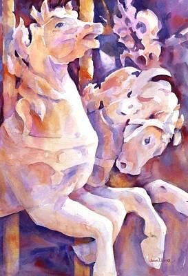 Carousel Horses Poster by Joan  Jones