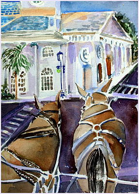 Carriage Ride In Charleston Poster by Mindy Newman