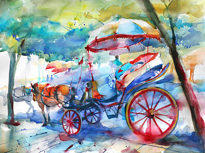 Carriages In Corfu Poster by Lyudmila Tomova
