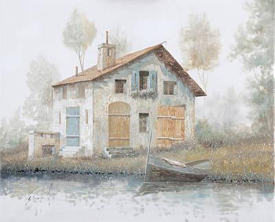 Casa Pallida Nella Nebbia Poster by Guido Borelli