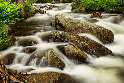 Cascading Water And Rocky Mountain Rocks Poster by James BO  Insogna