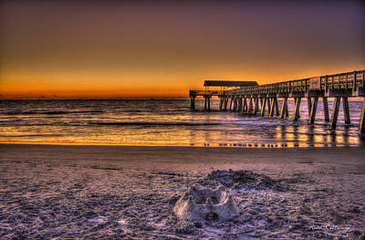Castles In The Sand Tybee Island Pier Sunrise Poster by Reid Callaway