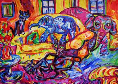 Cat Gymnastics With Elephant In The Room Poster by Dianne  Connolly