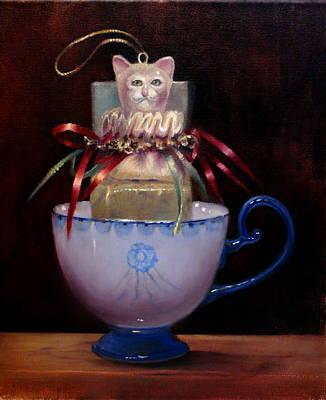 Cat In A Cup Poster by Loretta Fasan