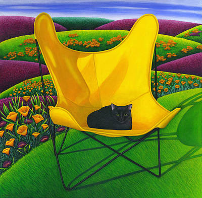 Cat In Butterfly Chair Poster by Carol Wilson