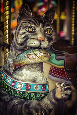 Cat With Fish Carrousel Ride Poster by Garry Gay